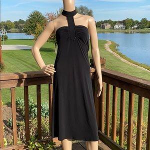 Freeway Black Beaded Halter Neck Empire Dress